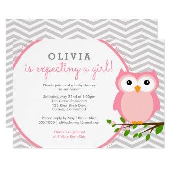 Pink Owl Baby Shower, Grey Chevron Invitation