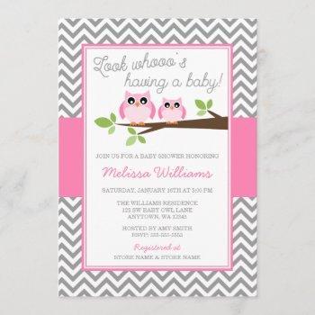 Pink Owl Gray Chevron Girl Baby Shower Invitation