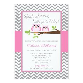 Pink Owl Gray Chevron Girl Baby Shower Invitation