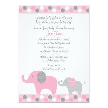 Pink Polka Dot Elephant Baby Shower Invitation