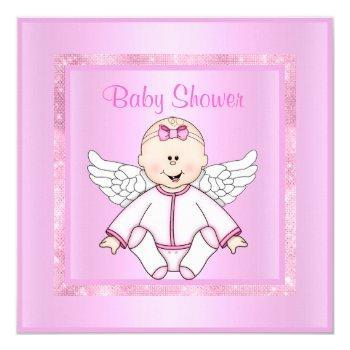 Pink Pretty Baby Angel Baby Shower Invitation