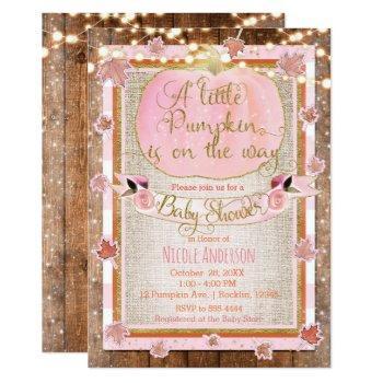 Pink Pumpkin & Autumn Leaves Rustic Baby Shower Invitation