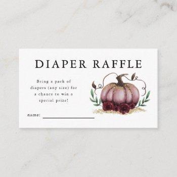 Pink Pumpkin Baby Shower Diaper Raffle Ticket Enclosure Card