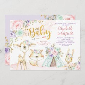 Pink Purple Mint Tribal Woodland Baby Shower Invitation