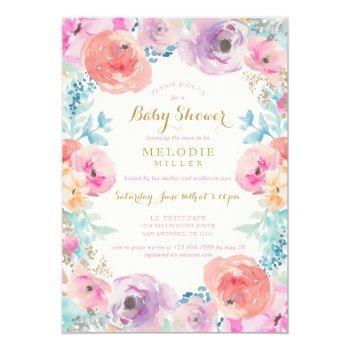 Pink Purple Vintage Floral Baby Shower Invitation