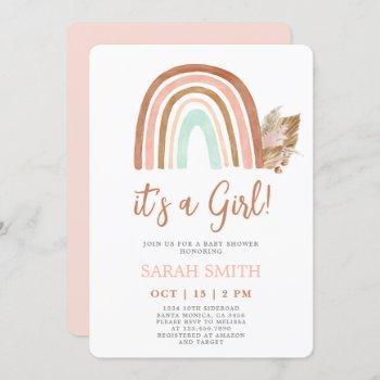 Pink Rainbow Baby Shower Girl Invitation