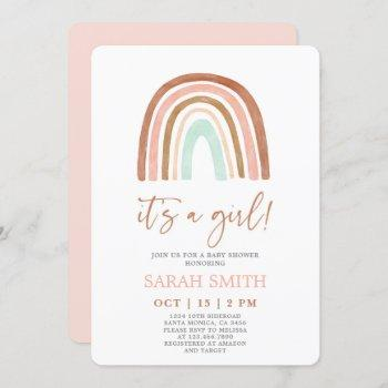 Pink Rainbow It's A Girl Baby Shower Invitation