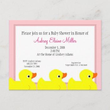 Pink Rubber Ducky Shower Invitation