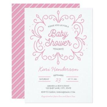 Pink Scroll Baby Shower Invitation