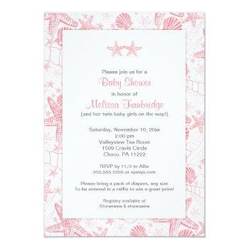 Pink Sea Shells Starfish Twin Girls Baby Shower Invitation