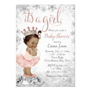 Pink Silver African American Princess Baby Shower Invitation