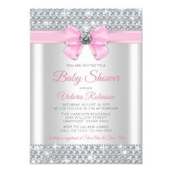 Pink Silver Bling Glam Baby Girl Shower Invitation