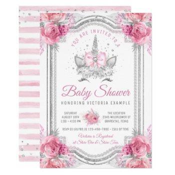 Pink Silver Diamond Unicorn Baby Shower Invitation