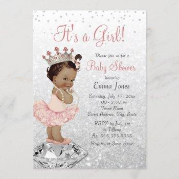 Pink Silver Princess African American Baby Shower Invitation
