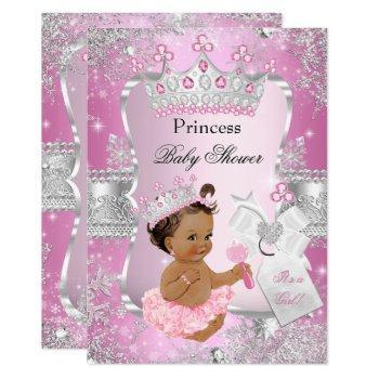 Pink Silver Princess Baby Shower Brunette Girl Invitation