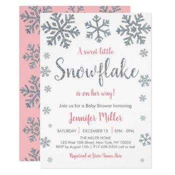 Pink & Silver Snowflake Winter Baby Shower Invitation