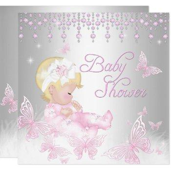 Pink Silver Sprinkle Butterfly Baby Shower Blonde Invitation