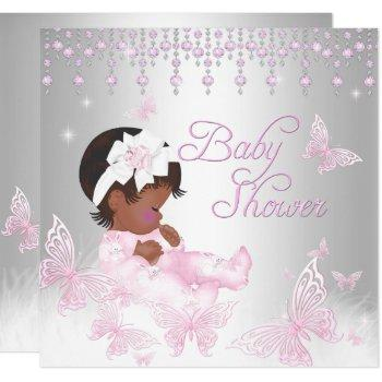 Pink Silver Sprinkle Butterfly Baby Shower Ethnic Invitation