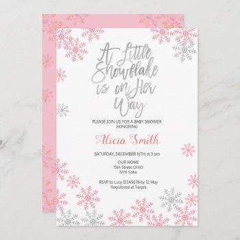 Pink Silver Winter Wonderland Girl Baby Shower