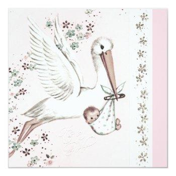 Pink Stork Baby Girl Shower Invitation