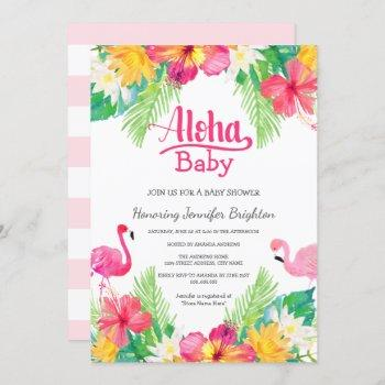 Pink | Tropical Flamingo Luau Baby Shower Invitation