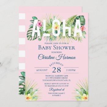Pink Tropical Floral Aloha Girl Baby Shower