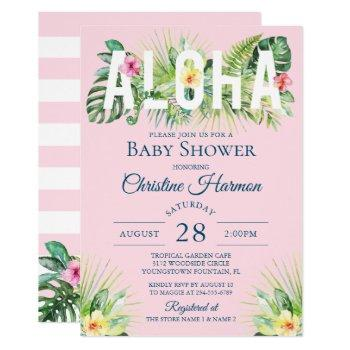 Pink Tropical Floral Aloha Girl Baby Shower Invitation