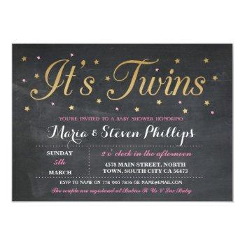 Pink Twins Girl Chalk Gold Baby Shower Invite