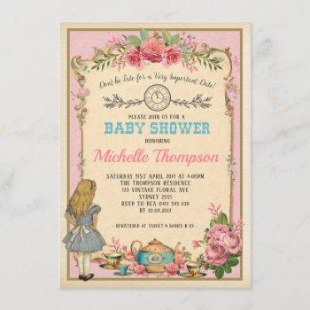 Pink Vintage Alice In Wonderland Tea Party Invite