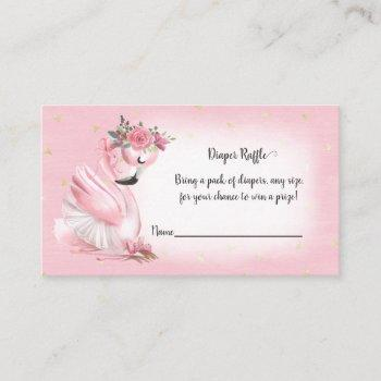 Pink Watercolor Flamingo Baby Shower Diaper Raffle Enclosure Card