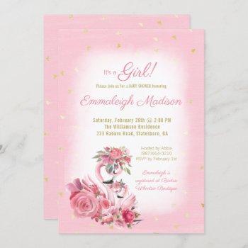 Pink Watercolor Flamingo Ballerina Baby Shower Invitation