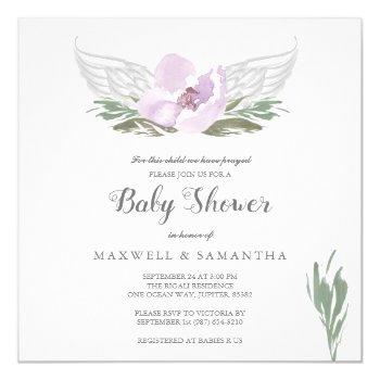 Pink Watercolor Florals Angel Wings Baby Shower Invitation