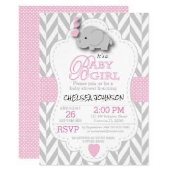 Pink, White Gray Elephant 🐘 Baby Shower Invitation