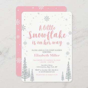 Pink Winter Wonderland, Girl Baby Shower, 4.5x6.25 Invitation