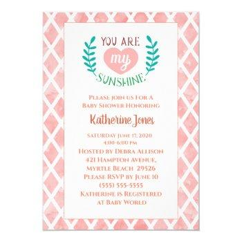 Pink You Are My Sunshine Baby Shower Invitation