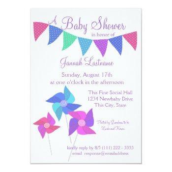 Pinwheels And Polka Dot Pennants Baby Shower Invitation