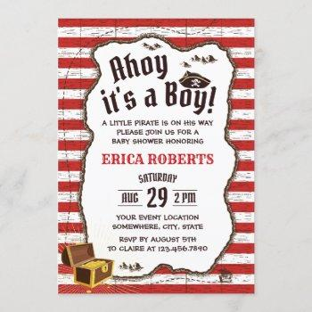 Pirate Boy Red Stripes Adventure Map Baby Shower Invitation
