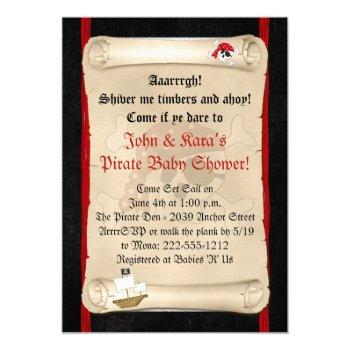 Pirate Ship Baby Shower Invitations - Red Skull