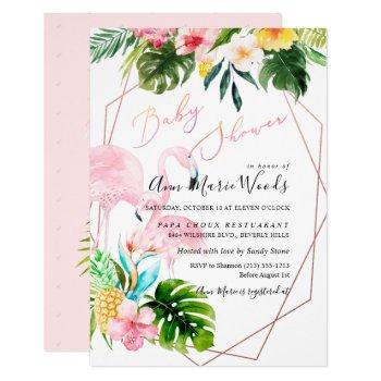 Pixdezines Watercolor Blush Flamingos Baby Shower Invitation