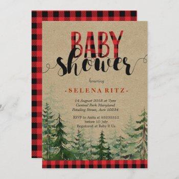 Plaid Wood Woodland Forest Lumberjack Baby Shower Invitation