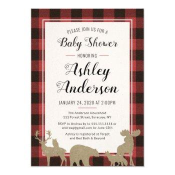 Plaid Woodland Animals Baby Shower Invitation