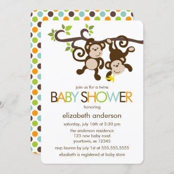 Playful Monkeys Twins Baby Shower