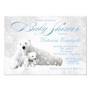 Polar Bear Winter Baby Shower Invitation