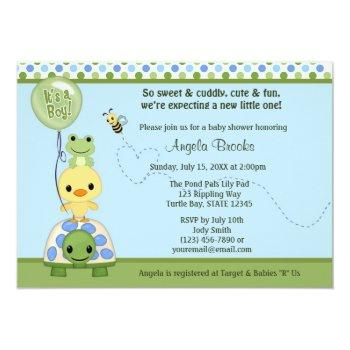 Pond Pals Duck Baby Shower Invitation Frog Turtle