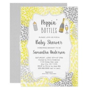Poppin' Bottles Yellow Gray Floral Baby Shower Invitation