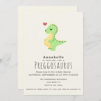 Preggosaurus Cute Dinosaur Baby Shower Invitation
