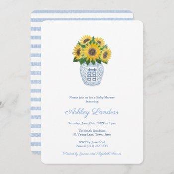 Preppy Sunflowers Blue And White Vase Baby Shower Invitation