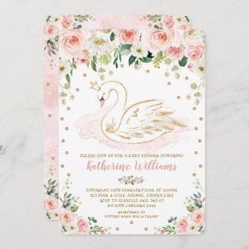 Pretty Blush Floral Swan Princess Girl Baby Shower