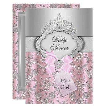 Pretty Bow & Tiara Princess Baby Shower Invitation