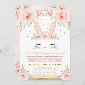 Pretty Bunny Girl Baby Shower / Blush Gold Rabbit